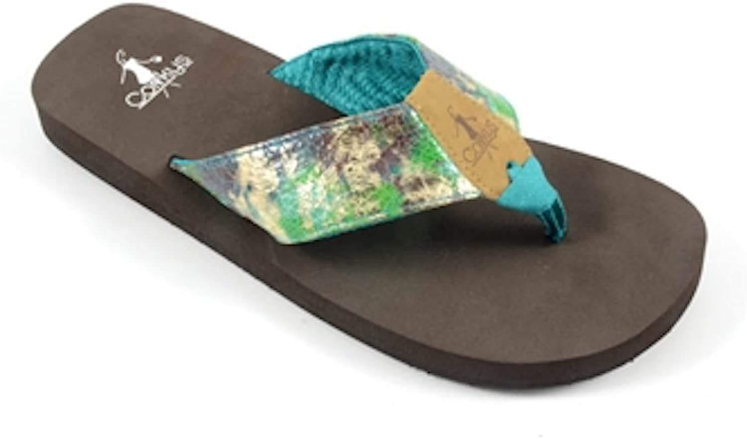Corkys Women's, Stacie Fabric Thong Sandals Teal 9