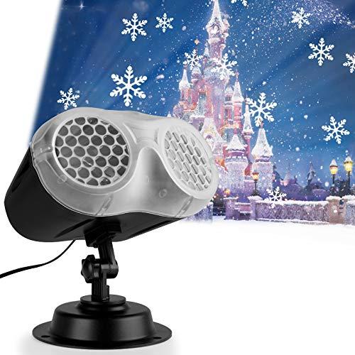 Qomolo Projecteur de Flocon de Neige Lumières,LED Projecteur De Noël Lampes de Neige Extérieur et Intérieur Avec Télécommande Étanche IP65, pour Fête, Noël, Anniversaire,Vacances,Nouvel An Mariage