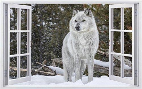 DesFoli Wolf Weiß 3D Look Wandtattoo 70 x 115 cm Wanddurchbruch Wandbild Sticker Aufkleber F148