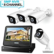 HeimVision HM541 5MP POE Security Camera System with 10 inch LCD Monitor, 8CH NVR 4Pcs Outdoor/Indoor Surveillance Cameras with Night Vision, Waterproof, Motion Detection, Remote Access, No Hard Drive