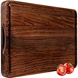 AZRHOM Large Walnut Wood Cutting Board for Kitchen 18x12 Cheese Charcuterie Board (Free Gift Box) Extra Thick Reversible Butcher Block Chopping Board Handles and Juice Groove