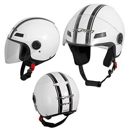 A-Pro Motorradhelm Motorrad Roller Offenes Jet Helm Viser ECE 22 05 Weiss M