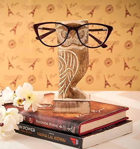 Eximious India Support à lunettes pour bureau, motif hibou, pour homme, femme, en bois, pour table de chevet, décoration de maison et de bureau, cadeau pour enfants, lui, elle, maman, papa (blanc)