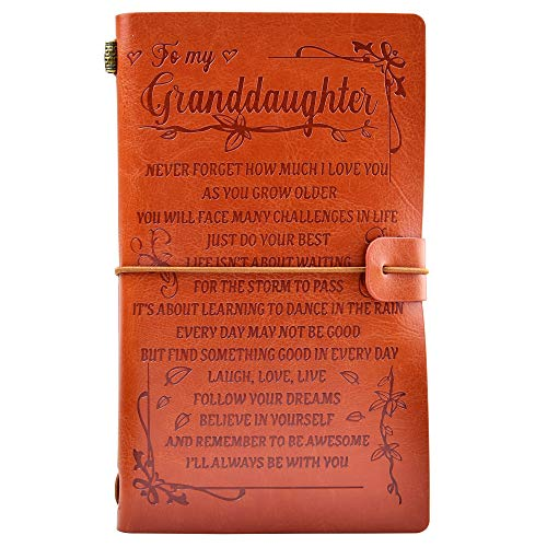 To My Granddaughter Leather Journal - - I'LL ALWAYS BE WITH YOU- Gifts for Granddaughter 136 Page Travel Diary Journal Sketch Book Graduation Back to School Gift for Girls