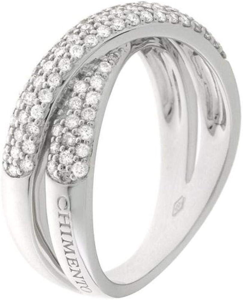 Chimento,anello per donna,in oro bianco 18 kt(5,3 gr)impreziosito da più file di diamanti 0,6 ct 1A07964BB5140
