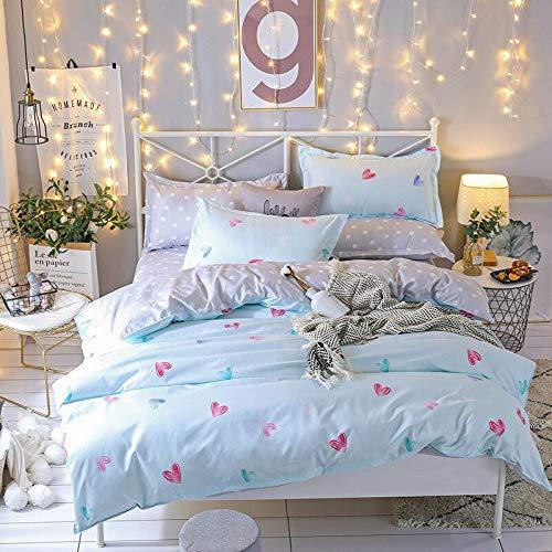 Sábanas de cuatro estaciones de estilo nórdico rosa corazón ropa de cama juego de cama encantador edredón edredón funda de cama y funda de almohada king size home textile set 150x200cm4pcs Style8