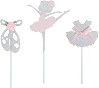 24 Pack of Glitter Silver Ballerina Ballet Slippers Tutu Dress Girls Skirt Cupcake Toppers with Pink Knot Bow or Flower for Birthday Party Baby Shower Wedding Bridal Shower Cake Decoration