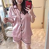 CLNAONG Pijamas de Mujer, Pijamas de Seda de la imitación de Verano Señoras de Manga Corta de Manga Corta Seda de Seda Cardigan de Servicio de Servicio en casa (Color : A, Size : Medium)
