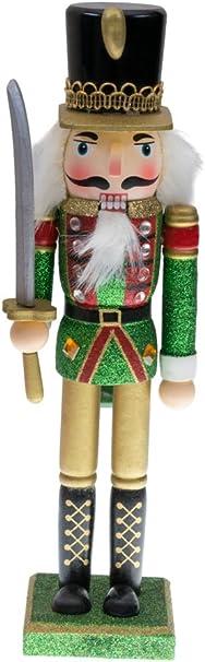 Re schiaccianoci Classico Clever Creations Decoro Natalizio Ideale per Qualsiasi addobbo 25 cm Uniforme Tradizione Rossa e Verde con Corona da Collezione 100/% Legno