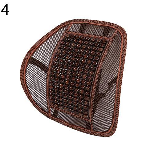 NAttnJf – Silla de Coche Transpirable Home Office Cool Back Cintura cojín de Apoyo Perlas de Madera Masaje