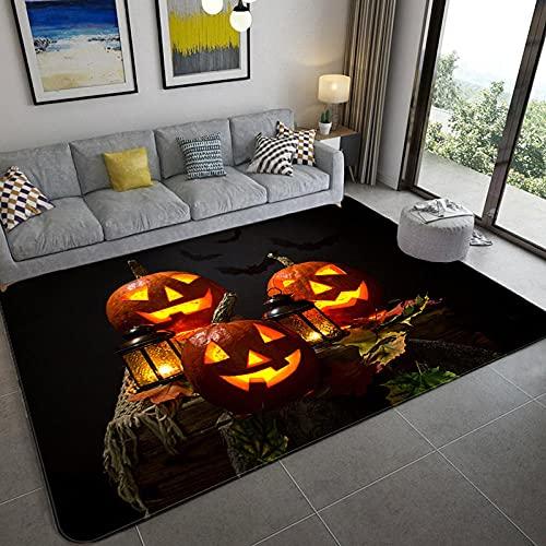 Cómodo y Suave Moderna Alfombra Antideslizante Tema de Halloween Tres linternas de Calabaza 200x300CM(6'6''x9'8'')