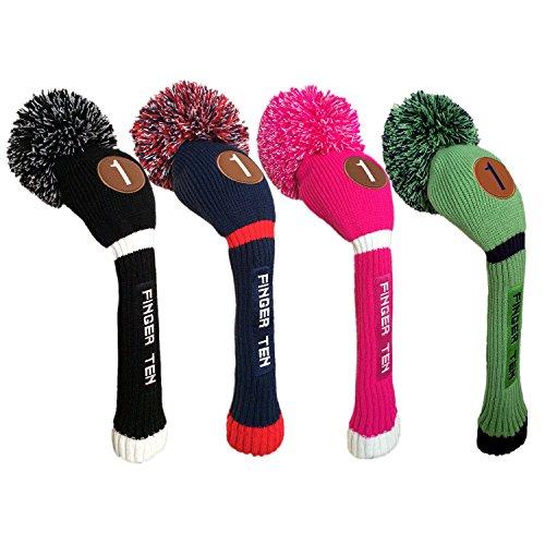 FINGER TEN Pom Pom Golfschlägerhaube aus Holz für Driver Fairway Hybrid, für Herren und Damen, Farbe: Schwarz, Blau, Hot Pink, Vorteilspack (Schwarz/Weiß, Hybrid-5)