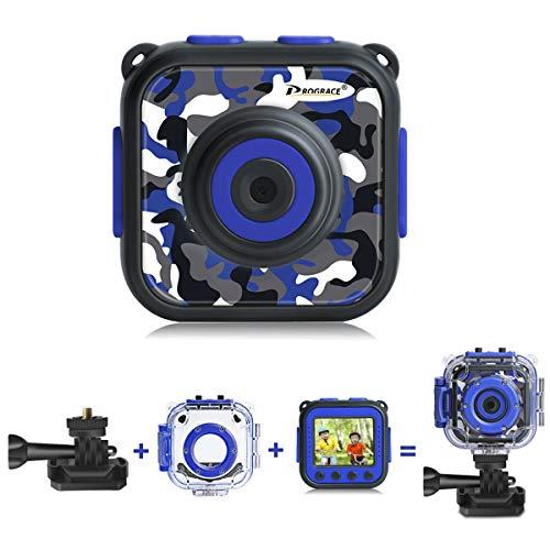 DROGRACE キッズカメラ IP68 30M防水 1080P録画 タイマー撮影 連写 顔認識 4倍ズーム 露出補正 迷彩ブルー
