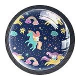 4 piezas de perillas de gabinete perillas de cajón perillas de puerta de armario de gabinete de cocina tiradores para cajoneras armarios Unicornio arcoiris estrella 3.5×2.8CM