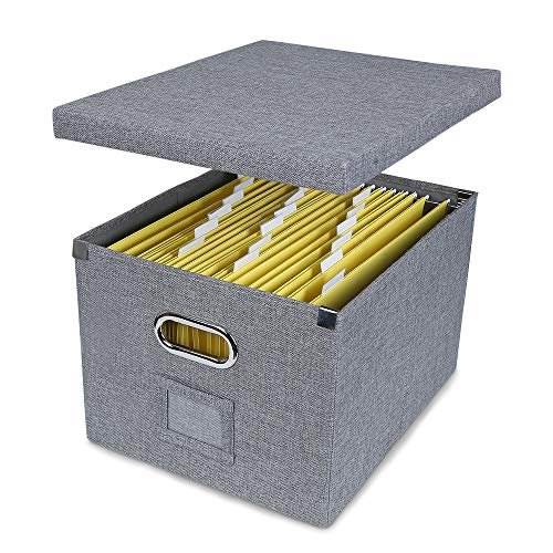 ATBAY File Storage Box Collapsible Large Capacity Office File Organizer for Letter/Legal Size Hanging File Folder Box, Gray 1Pack