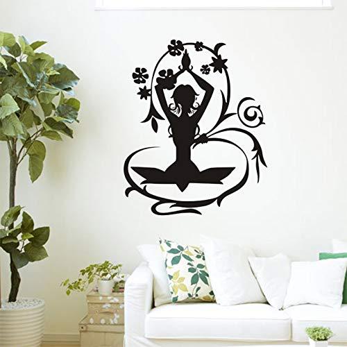 AKmene Meditazione Yoga Lotus Pose Wall Sticker Vinile Home Decor 74x90cm 74x90cm