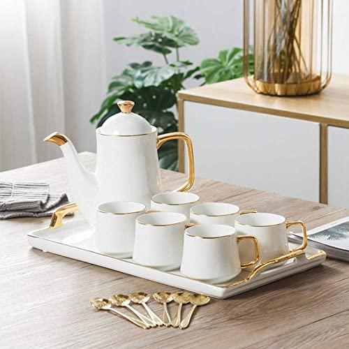 HJRBM Juegos de Regalo de té de café de cerámica, Juego de té de Tazas de café de cerámica para Bebidas de café Especiales, Capuchino, Latte, Americano y Juego de té de 8