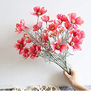 Artificial Wild Flower 6 Pcs Cosmos Long Stem Calliopsis, Simulation Bouquet, Realistic Plastic Fake Silk Flowers Table Kitchen Home Garden Party Arrangement Wedding Decoration, 6 Head