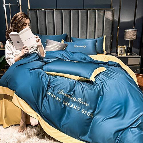 juego de funda nórdica 260x240,Conjunto de cobertura de seda de seda de satén con cremallera Conjuntos de colección de ropa de cama de 4 piezas de calidad de cierre con cremallera -100% Protector de