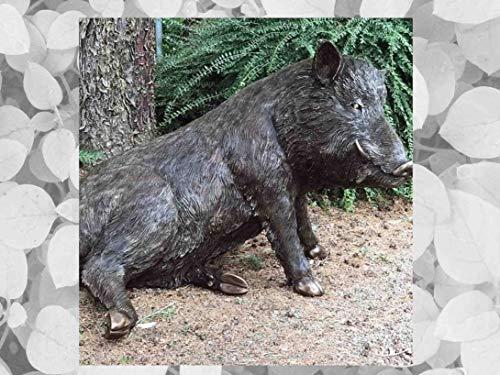 IDYL - Escultura de bronce sentado   90 x 90 x 130 cm   Figura de animal de bronce hecho a mano   Escultura de jardín o decoración   Artesanía de alta calidad   Resistente a la intemperie