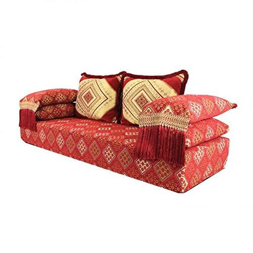 Casa Moro Orientalisches Sofa Oman Rot 25 marokkanische Sitzcouch Set inklusive Füllung mit Rücken- & Lehnenkissen | Sidari das Original aus Marrakesch | Arabische Sitzgruppe Sark Kösesi | MO5008OG