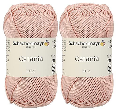 Schachenmayr Catania Originals 9801210 433 Rose Gold, Handstrickgarn Baumwolle Set 2 Stück à 50 Gramm