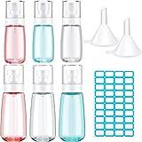 6 Botellas de Spray de Tamaño de Viaje Kit de Contenedores de Spray de Viaje de Maquillaje Botellas Vacías de Pulverizador de Niebla Fina Transparente 2 oz/ 60 ml y 3,4 oz/ 100 ml, 2 Embudos, Etiqueta