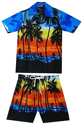 Original King Kameha   Funky Hawaii camisa y pantalones   2 piezas Cabana Set   Niños   2-8 años   Hawaii   Palmeras playa mar   Azul azul 2 Años