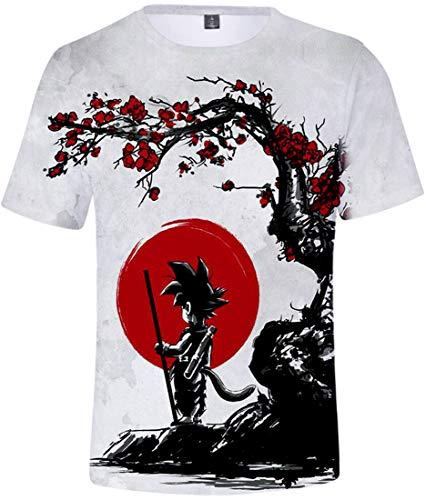 FLYCHEN Homme T-Shirts à Manches Courtes 3D Impression(Soleil DZ, S(Etiquette M))