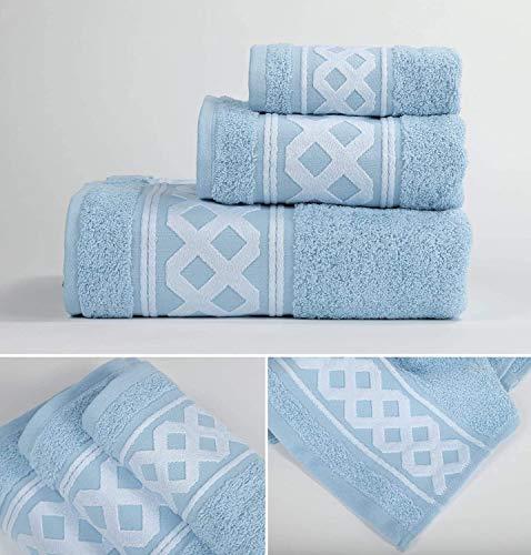 Energy Colors Textil - Hogar - Cenefa Turquía - Juego de Toalla 3 Piezas 100% Algodón de 500 Gramos (Celeste)
