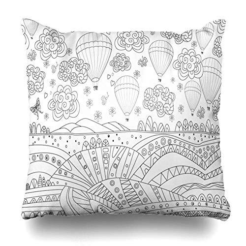 N\A Throw Pillow Cover Square Size Hand Coloring Fancy Air Hot Balloons Sky Nature Book Drawing Abstract Adult Ballon Diseño Negro Funda de cojín Decoración para el hogar Diseño Funda de Almohada