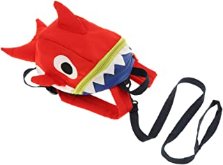 Prettyia Kids Safety Harness Anti-Lost Backpack Cute Shark Schoolbag for Walking Baby Toddler –Red