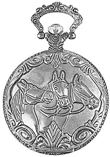 Excellanc llanc Reloj de bolsillo con mecanismo de cuarzo Caballos y plata farbigem Carcasa 480322000001