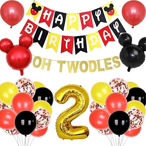 Amycute Mickey Themed Geburtstag Dekorationen, 2st Geburtstag deko, Happy Birthday Banner, Rot Schwarz Gelb Konfetti Ballons Kit für Mickey Thema Party Geburtstag Dekoration.
