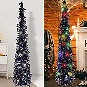 hmasyo 5 foot black tinsel halloween christmas tree with 50 led colorful lights – collapsible pop up circle bell sequins artificial pencil tree decorations for home fireplace party indoor outdoor silk flower arrangements