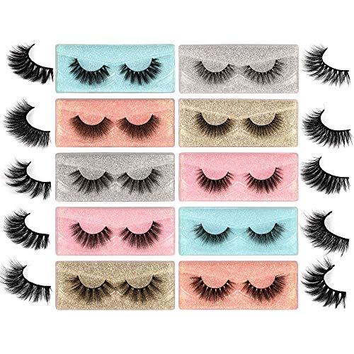 10 Styles Mixed False Eyelashes Bulk FANXITON Fluffy Volume Lashes Wholesale 3D Faux Mink Lashes with Individual Eyelash Box 10 Pack
