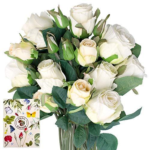 SnailGarden 18 Köpfe Silk Rosen Kunstblumen,Seiden Rosenstrauß & Blumenbänder,Künstlich Dekoblumen Seiden Rosen Bouquets für Hochzeit,Tischdeko für Büro,Hause,Geschenk