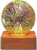 HBWH Proyector de cristal cielo estrellado,lámpara de decoración de fuegos acristalrtificiales para dormitorio,luz LED de ambiente colorido lámpara de mesa,enchufe USB,regalos (fuegos artificiales)