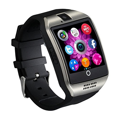Mgaolo Q18 Smart Watch Smartwatch Bluetooth Sweatproof Touchscreen Phone with Camera TF/SIM Card Slot for Android and iPhone Smartphones for Kids Girls Boys Men Women(Silver)