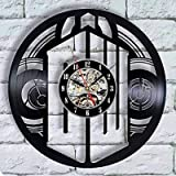 LKJHGU Reloj de Pared clásico decoración Retro 3D Disco de Vinilo Reloj de Pared Sala de Estar...