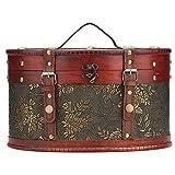 Caja de almacenamiento de madera tradicional EVTSCAN para organizador de joyas y accesorios, pequeños contenedores vintage, cofre del tesoro, decoración del hogar