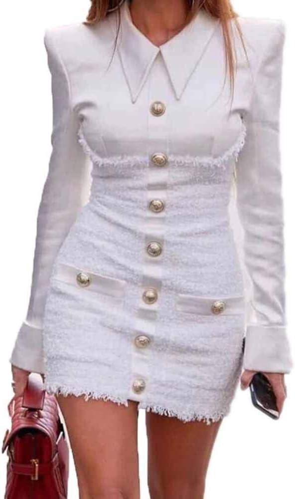 Huateng Vestido Elegante de Las Mujeres - Damas Otoño ...