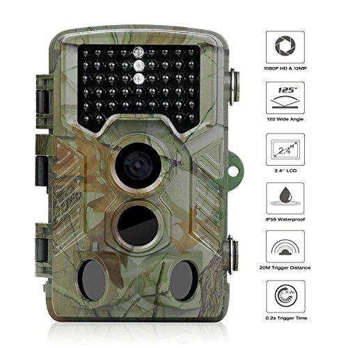 WiMiUS Wildkamera, wasserdicht Mini Halterung Falle fotografischen LED schwarz 1080p HD Foto 12MP Tiere Bewegungsmelder 46LEDs IR, Betrachtungswinkel von 125°, 20m Kamera von Spiel Infrarot Night