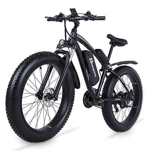 Shengmilo 26 Inch Fat Tire Electric Bike 48V 1000W Motor Snow Electric Bicycle with Shimano 21 Speed Mountain Electric Bicycle Pedal Assist Lithium Battery Hydraulic Disc Brake(MX02S) (Black)
