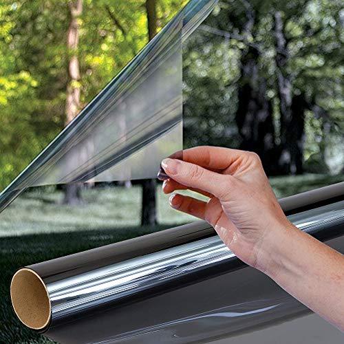 Shackcom Spiegelfolie Selbstklebend Fensterfolie One Way Spiegel Reflektierende Sichtschutzfolie 90x200cm Sonnenschutzfolie 99% Anti-UV Schutz Sonnenschutz Fensterfolie-Schwarz Grau SV008