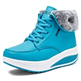 SAGUARO Invierno Mujer Botas de Nieve Cuero Calientes Fur Botines Plataforma Bota Boots Ocasional Impermeable Anti Deslizante Zapatos, Azul 38