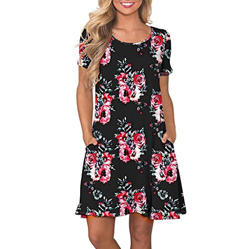 VEMOW Vestido Mujer Mujeres Verano Manga Corta Floral Bolsillos Impresos Vestido de oscilación Ocasional de Sundress(A Negro,2XL)