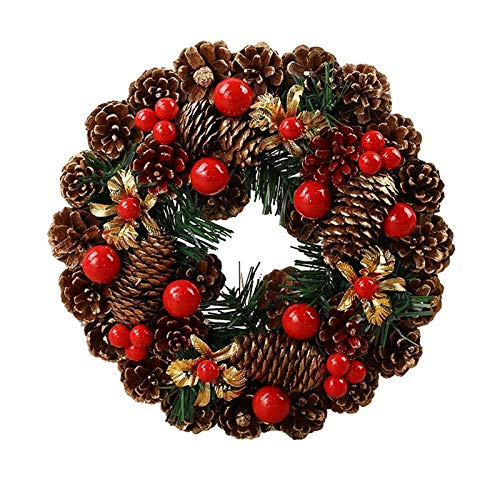 QT HOUSEWARE Fall Wreaths for Front Door 11 Inch - Christmas Wreath Handmade Rattan Garland Artificial Pine Cone Red Berry Festival Hanging Door Wreath Christmas Decoration
