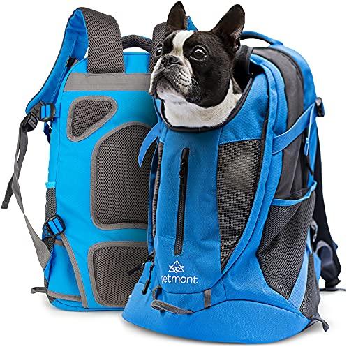 petmont Hunderucksack für kleine Hunde und Welpen [bis 10 KG] - Atmungsaktive Hundetasche, Hundetransport-Box, Welpen-Zubehör | fürs Fahrrad, Wandern, Reisen, Auto und Bahn