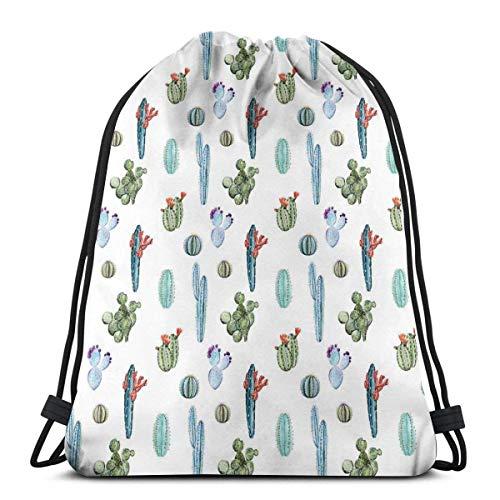 Hangdachang Aquarell-Kaktus-Pflanzenbild Wüste heißer mexikanischer Souh Natur Blumendruck, verstellbarer Kordelverschluss Bedruckter Kordelzug Rucksäcke Taschen